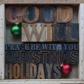 Goodwill Christmas holiday words — Stock Photo