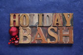Holiday bash words on blue — Stock Photo