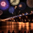 Stock Photo: Spectacular Fireworks festival at HRiver