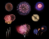 Fireworks selection on black background — Stock Photo