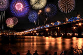 Spectacular Fireworks festival at Han River — Stock Photo
