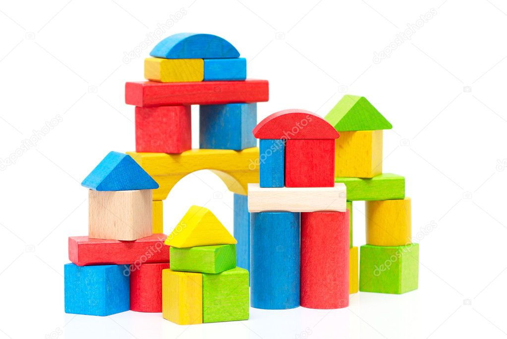 Wooden building blocks isolated on white background — Stock Photo #7386596