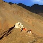 Landscape with monastery on mountain. Leh — Stock Photo