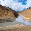 Confluence of rivers Zanskar and Indus. Himalayas - Stock Photo