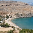 Lindos Beach, Rhodes, Greece - Stock Photo