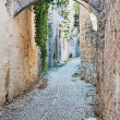 Cobblestone Alley in Rhodes Old Town, Greece — Stock Photo