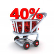 Stock Photo: Cart discount 40