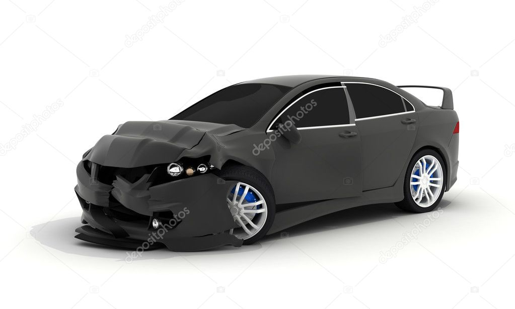 Car crash on white background (done in 3d)  — Stock Photo #7141538