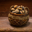 Almonds basket — Stock Photo