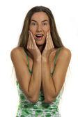 Meisje blij en verrast — Stockfoto