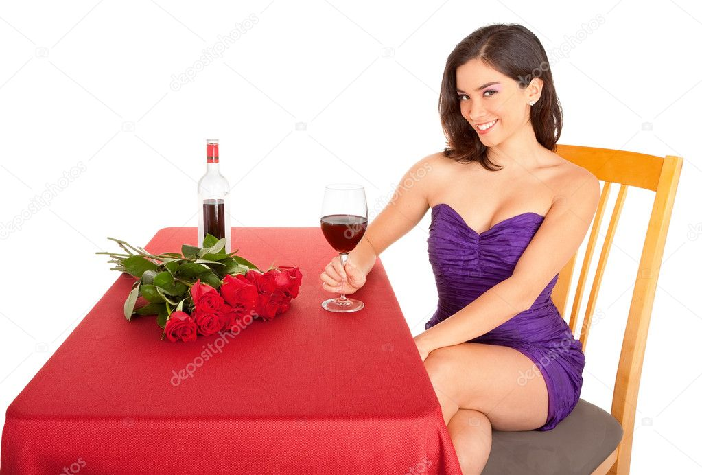 A woman is being courted by someone with flowers and red wine. — Stock Photo #7811631