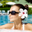 Gorgeous brunette in pool — Stock Photo #6813932