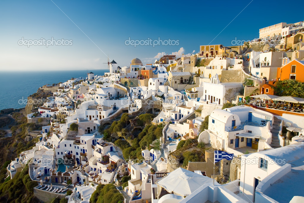 Summer view of Oia, Santorini, Greece. are not recognizable — Stock Photo #6834715
