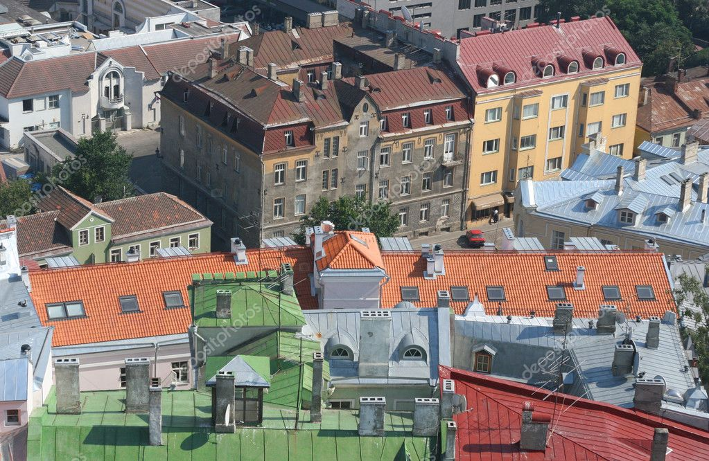 Bird's-eye view of colorful roofs of tallinn, estonia  Stock Photo #6960820