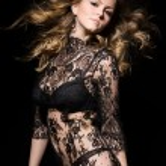 Gorgeous model, over black — Stock Photo