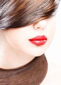 Lips and hair — Stock Photo