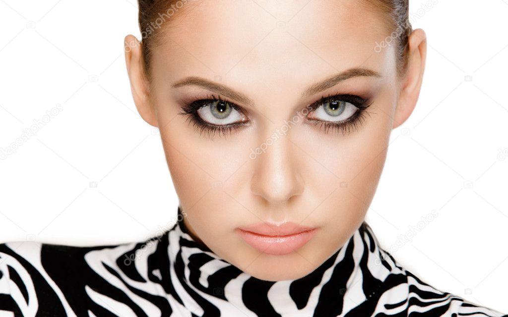 Gorgeous young woman posing in zebra pattern outfit — Stock Photo #7085757