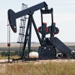 Pump jack lifting crude oil - Stock Photo