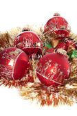 Red Christmas Ornaments and Candy — Stock Photo