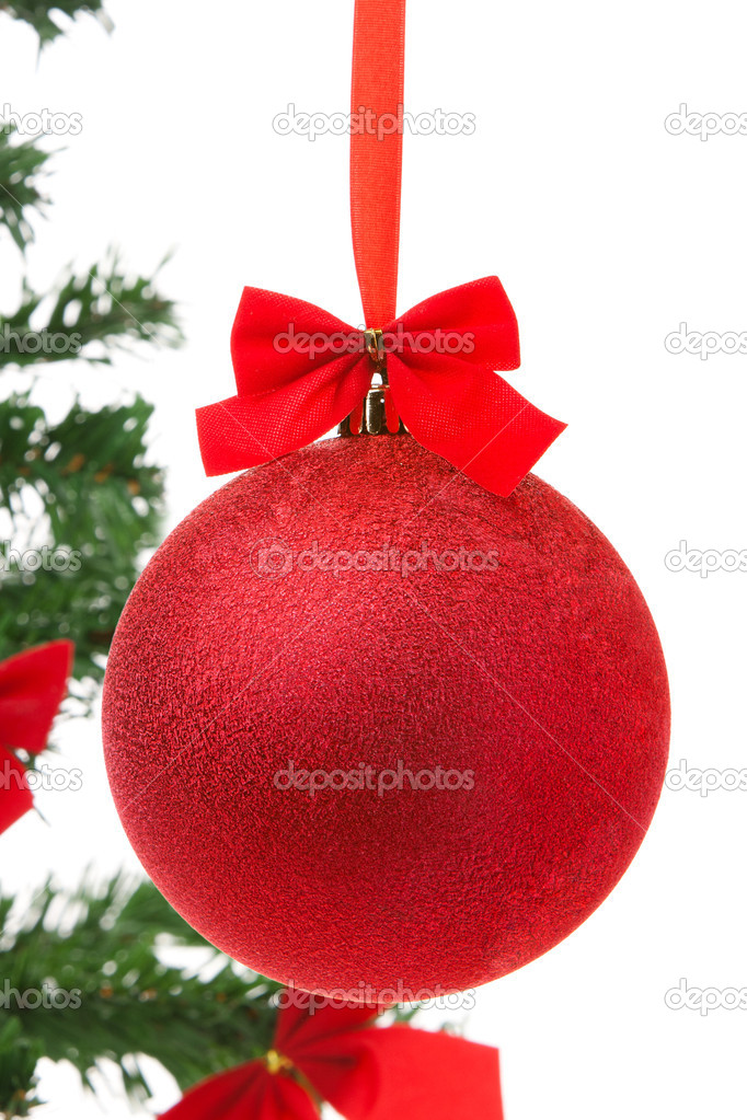 Red Christmas ball with christmas tree on a background — Stock Photo #7642143