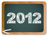 2012 New Year written on blackboard with chalk — Stock Vector