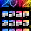 Colorful 2012 Calendar on Black Background. Rainbow Colors — Imagen vectorial