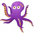 Purple Octopus Isolated on white - Stock Vector