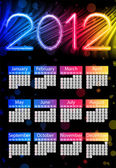 Colorful 2012 Calendar on Black Background. Rainbow Colors — Stock Vector