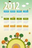 Calendar 2012 environmental retro planet with trees,birds,flower — Stock Vector
