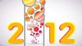 2012 Happy New Year with Colorful Bubbles — Stock Vector
