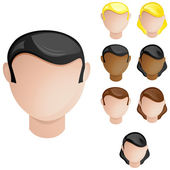 Heads Male and Female. Set of 4 hair and skin colors — Stock Vector