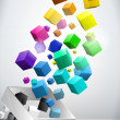 Stock Vector: Colorful Flying Cubes Background
