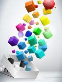 Fond coloré de cubes volants — Vecteur