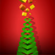 Christmas Tree Geometric Pyramid with Gifts — Stock Vector