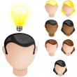 Heads with Creativity Light Bulb — Imagens vectoriais em stock