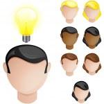 Heads with Creativity Light Bulb — Stock Vector