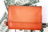 Orange leather wallet — Stock Photo