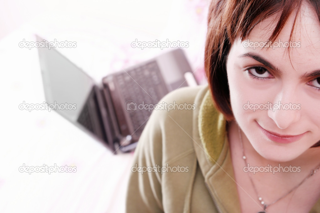 Young woman in bed .  Stock Photo #6920584