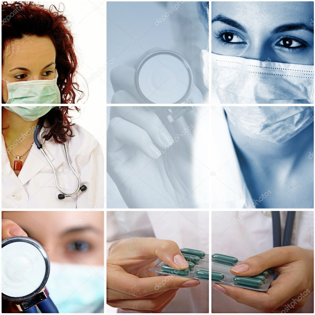 Professional young doctors at work. Collage. — Стоковая фотография #7505096