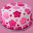 White Fondant Cake with Pink Flowers - Stock Photo
