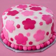 White Fondant Cake with Pink Flowers - 