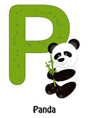 Panda with letter P — Stock Vector