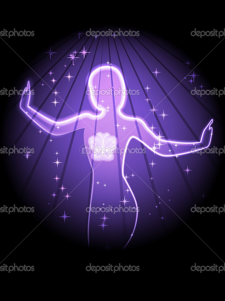 Woman silhouette on purple starry background — Stock Vector #7126407