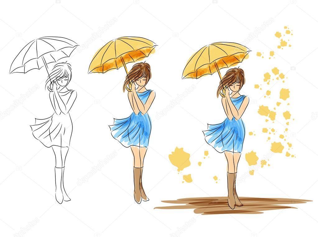Рисунки человека с зонтиком