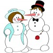 Snow couple — Stock Vector