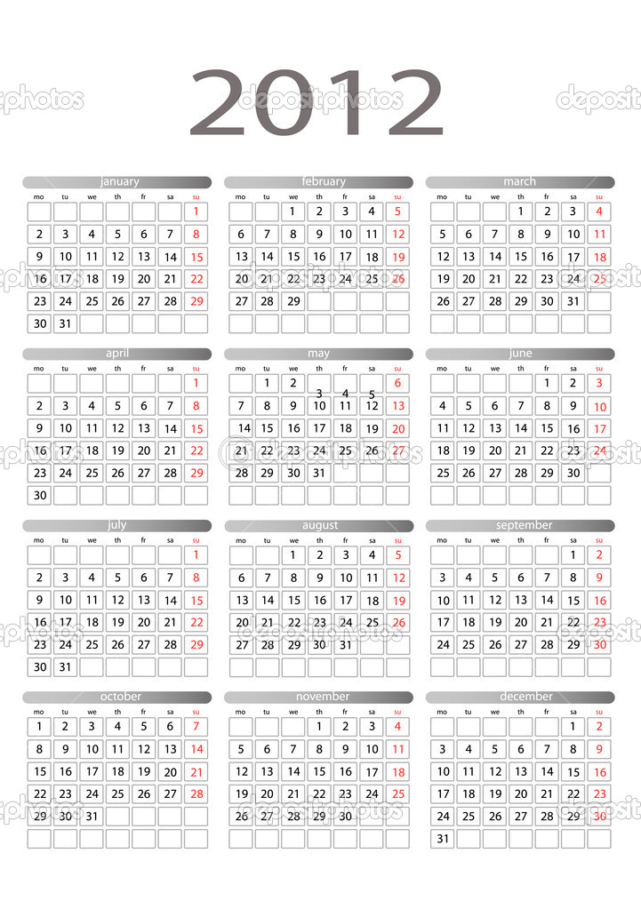 Simple vector calendar for 2012 on a white background. Starts monday. — Stock Vector #7098036
