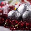 Royalty-Free Stock Photo: Christmas background with baubles and gift