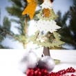 Christmas background with baubles — Photo