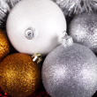 Christmas background with baubles - Stock Photo