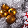 Christmas background with baubles and gift - 图库照片